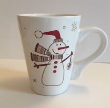 Snowman & Snowflakes White Christmas Holiday Mug Holds 12 oz