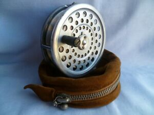 VINTAGE HARDY MARQUIS # 7 FLY FISHING REEL WITH SUEDE CASE / POUCH & LINE TROUT