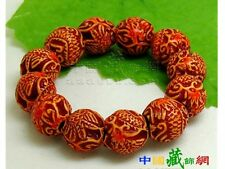 Stretchy Delicately Carved 16 Dragon Phoenix Yak Bone Beaded Amulet Bracelet