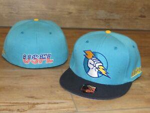Oakland Invaders USFL Vintage Logo Throwback Fitted Hat Cap Men's Size 7 3/4