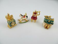 4 Gold Tone Enamel Charms House Chair Rocking Horse Clock