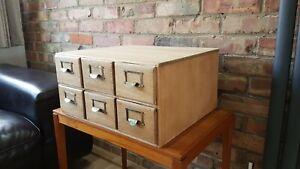 Vintage / antique bank of oak index drawers - tabletop cabinet