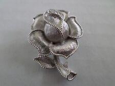 Vintage Trifari Rose Pin Brooch Silver Tone Brushed Signed