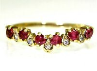 Stunning Ruby & Diamond Wishbone 9ct Yellow Gold ring size N ~ 6 3/4