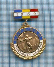Old & Rare Tennis Regional Championship Award Enameled Badge 1959 Romania