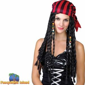 Buccaneer Caribbean Pirate Wig Adults Ladies Fancy Dress Costume Accessory
