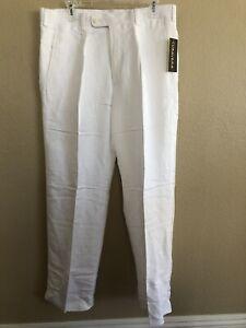 Cubavera Mens White Classic Fit Linen Blend Dress Pants Size 34x30 MSRP New