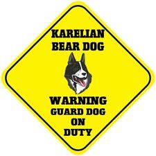 Yellow Aluminum Crossing Sign Karelian Bear Dog Warning Guard on Duty Cross Xing