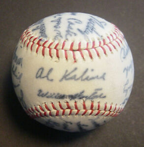 1973 Detroit Tigers Team Autographed Baseball Facsimile Signed Stamped 28 Player