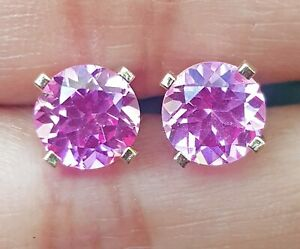 1.31ct Natural VS Pink Sapphire 14K Solid White Gold Stud Earrings Diamond Alter