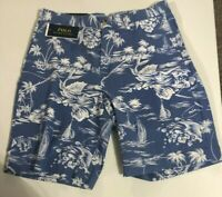 "Men's SZ 33 Polo Ralph Lauren Classic Fit 9"" Blue Tropical Linen Cotton Shorts"