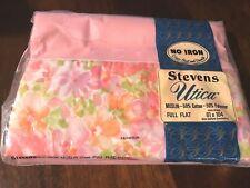 Vintage Stevens Utica Antoinette Full Flat Sheet Percale Floral Unused NOS