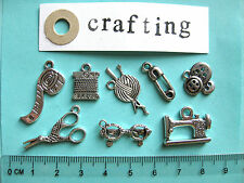 8 tibetan silver sewing crafting charms wool buttons scissors sewing machine