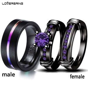 Couple Rings Purple CZ Black Tungsten Mens Band Ring Women's Wedding Ring Sets