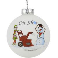 Tree Buddees Oh Sht Funny Snowblower vs Snowman Glass Bulb Ornament Funny Xmas