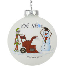 Tree Buddees Oh Sht Funny Snowblower vs Snowman Glass Bulb Ornament Funny Xmas
