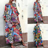 Women Oversize Long Shirt Dress Floral Print Kaftan Maxi Dress Kaftan Tops Plus