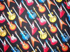 ROCKER GUITARS ROCK & ROLL COLORFUL COTTON FABRIC FQ