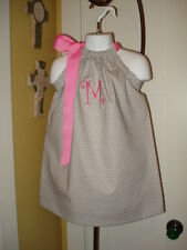 Monogram Grey Chevron Easter Pillowcase Dress  3 month -7 year