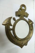 VINTAGE FRENCH BRASS SHIPS ANCHOR WALL MIRROR - POUR L'AMOUR AN MOI