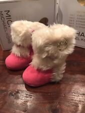 Michael Kors Baby Grace Boots Booties New Pink Girls 6 Weeks -  3 Months Size 1