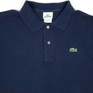Lacoste Navy Blue Mens Croc Logo Short Sleeve Polo Shirt Size 6  Used