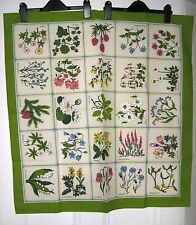 Vintage Scandinavian Linen Square Table Cloth 80cm Swedish Regional Flowers