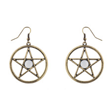 and White Opal Stone Circle Earrings Lux Accessories Boho Burnish Gold Pentagram