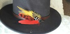 Yellow red feather pin hatpin lapel pin wedding grooms rustic buttonhole guinea