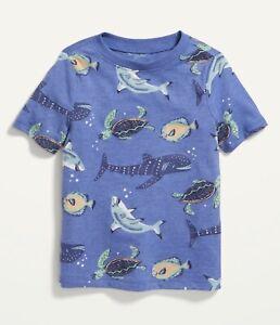 Old Navy Toddler Boy Girl ~ Short Sleeve Tee ~ Size 3T ~ Sea Fish Shark Turtle
