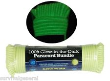 550 Paracord 100' Parachute 7 Cord Strand Rope Green Outdoor Glow-In-The-Dark