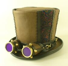 TALL STEAMPUNK GENUINE LEATHER & FABRIC VICTORIAN / RETRO STYLE TOP HAT COSPLAY