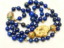 "Vintage Chinese 14k gold Lapis BEADS NECKLACE Signed Pendant 28"" long, no Clasp"