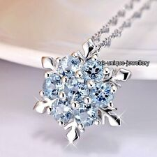 Xmas Frozen Snowflake Blue Crystals Silver Pendant Necklaces Gifts for Her Women