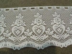 Window Valance Lace Ivory Hearts & Rose design 60'W x 13'L