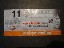 01/02 Eintrittskarte SC Freiburg - BVB Borussia Dortmund Sammler Ticket
