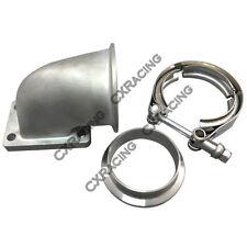 """Stainless Steel 90 Deg Elbow Adapter Flange + 2.5"""" Vband For T2 T25 T28 Turbo"""