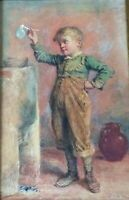 WILLIAM HENRY HUNT(1790-1864), Watercolor on Paper, Boy Blowing a Bubble, Signed