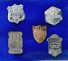 Michigan Chauffeur Metal Badge Lot 1924 1927 1934 1937 1939 Nice w Display Case