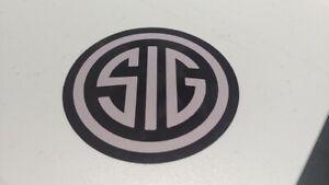 Sig Sauer Pistol Handgun Firearm Tactical Sticker Decal Gray Black Round