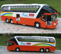1/38 Orange Diecast Car Model Orange Passenger Bus Toy Vehicle With Light&Sound