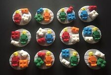 12 edible LEGO MAN BLOCK DISC cake CUPCAKE topper DECORATION construction BRICK