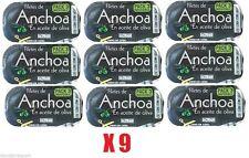 9 x 40 GR CIASCUNO-SPAGNOLA anchoas-Acciughine curare Sale & Olio d'Oliva frutti di mare