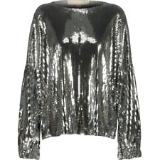 MICHAEL KORS SEQUIN TOP,SILVER BLOUSE,CHRISTMAS TOP,New Year Outfit S MK
