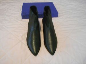 87 Vic Matie Crackled Metallic Pine Leather Ankle Boots, Size 39