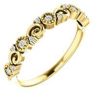 14K Yellow Gold Diamond 5 Stone Anniversary Band Size 7