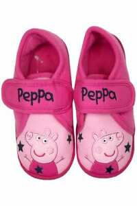 Mothercare Peppa Pig Slippers Pink Girls Character Baby Easy Fasten Toddler Cute