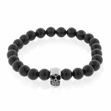 "EDFORCE Stainless Steel Black Beads Silver-Tone Skulls Mens Stretch Bracelet, 8"""