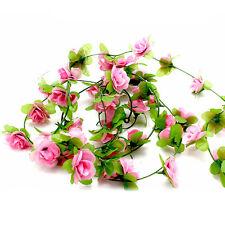 255cm String Fake Rose Flowers Vine Ivy Leaf Garland Floral Home Garden Decor CL Light Pink
