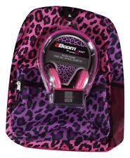 Star Point Tech Ready Pink Purple Leopard Backpack Headphones School Travel Bag
